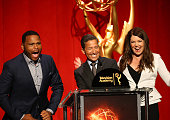 Anthony Anderson Television Academy Chairman CEO Bruce Rosenblum and Lauren Graham speak onstage during the 68th Emmy Awards nominations announcement...