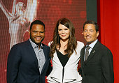 Anthony Anderson Television Academy Chairman CEO Bruce Rosenblum and Lauren Graham pose onstage during the 68th Emmy Awards nominations announcement...