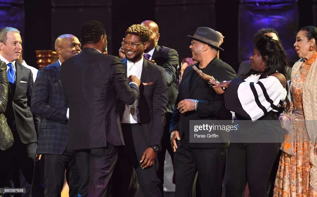 Anthony Anderson, Usher Raymond, Howard Hewett, and Angie Stone onstage at 2017 Andrew Young International Leadership Awards and 85th Birthday Tribute at Philips Arena on June 3, 2017 in Atlanta, Georgia.