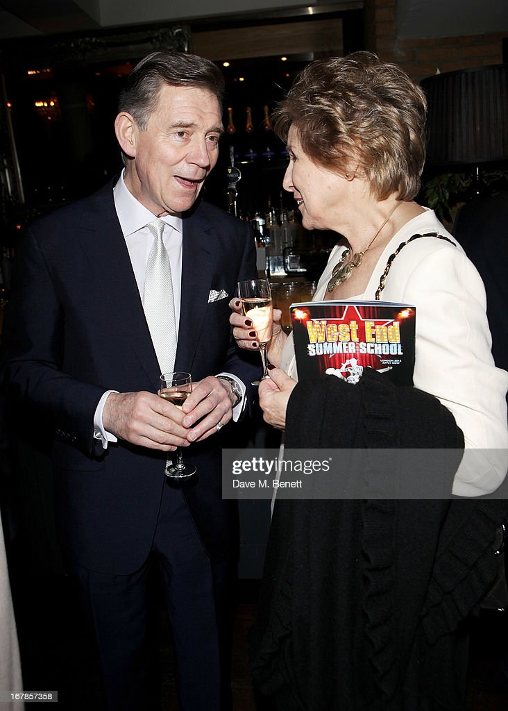 Anthony Andrews (L) and Norma Major attend an after party celebrating the press night performance of the Menier Chocolate Factory's 'Merrily We Roll Along', following its transfer to the Harold Pinter Theatre, at Grace Restaurant on May 1, 2013 in London, England.