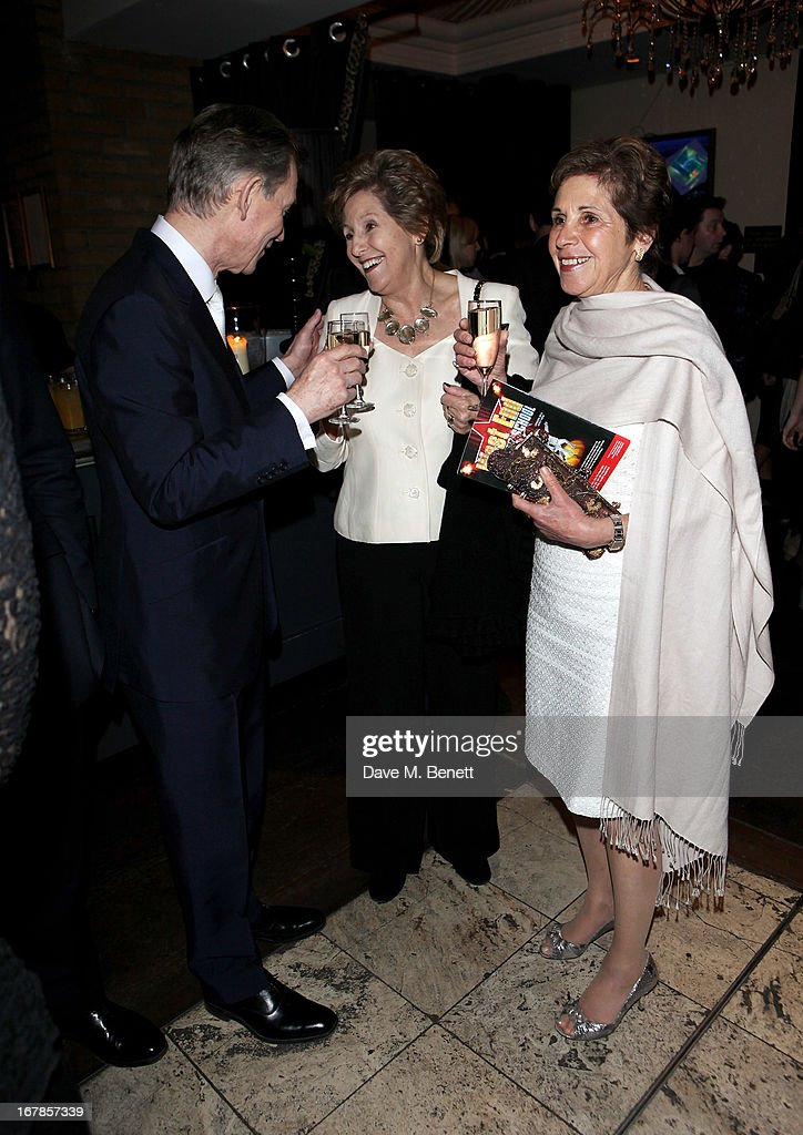 Anthony Andrews, Norma Major and Georgina Simpson attend an after party celebrating the press night performance of the Menier Chocolate Factory's 'Merrily We Roll Along', following its transfer to the Harold Pinter Theatre, at Grace Restaurant on May 1, 2013 in London, England.