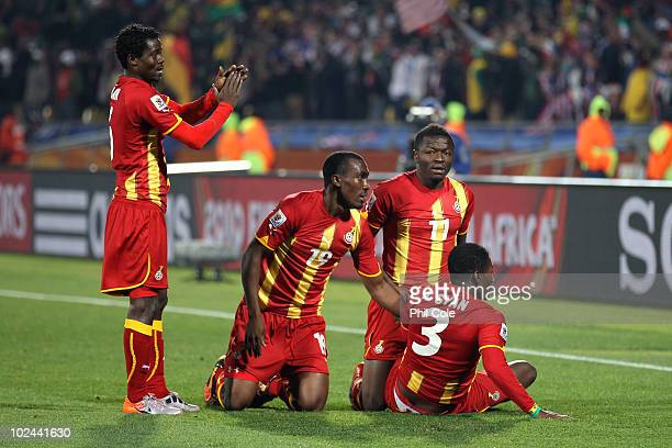 Anthony Annan Lee Addy Sulley Muntari and Asamoah Gyan of Ghana celebrate victory after the 2010 FIFA World Cup South Africa Round of Sixteen match...