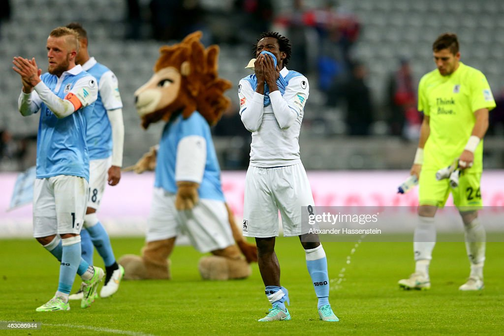 <a gi-track='captionPersonalityLinkClicked' href=/galleries/search?phrase=Anthony+Annan&family=editorial&specificpeople=646720 ng-click='$event.stopPropagation()'>Anthony Annan</a> (C) of 1860 Muenchen reacts after the Second Bundesliga match between 1860 Muenchen and 1. FC Heidenheim at Allianz Arena on February 9, 2015 in Munich, Germany.