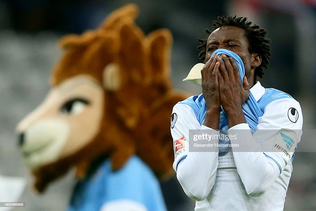 <a gi-track='captionPersonalityLinkClicked' href=/galleries/search?phrase=Anthony+Annan&family=editorial&specificpeople=646720 ng-click='$event.stopPropagation()'>Anthony Annan</a> of 1860 Muenchen reacts after the Second Bundesliga match between 1860 Muenchen and 1. FC Heidenheim at Allianz Arena on February 9, 2015 in Munich, Germany.