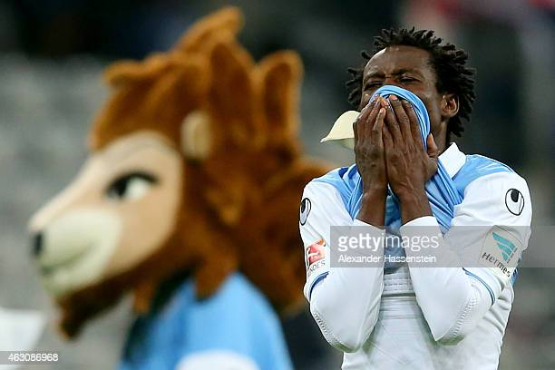 Anthony Annan of 1860 Muenchen reacts after the Second Bundesliga match between 1860 Muenchen and 1 FC Heidenheim at Allianz Arena on February 9 2015...