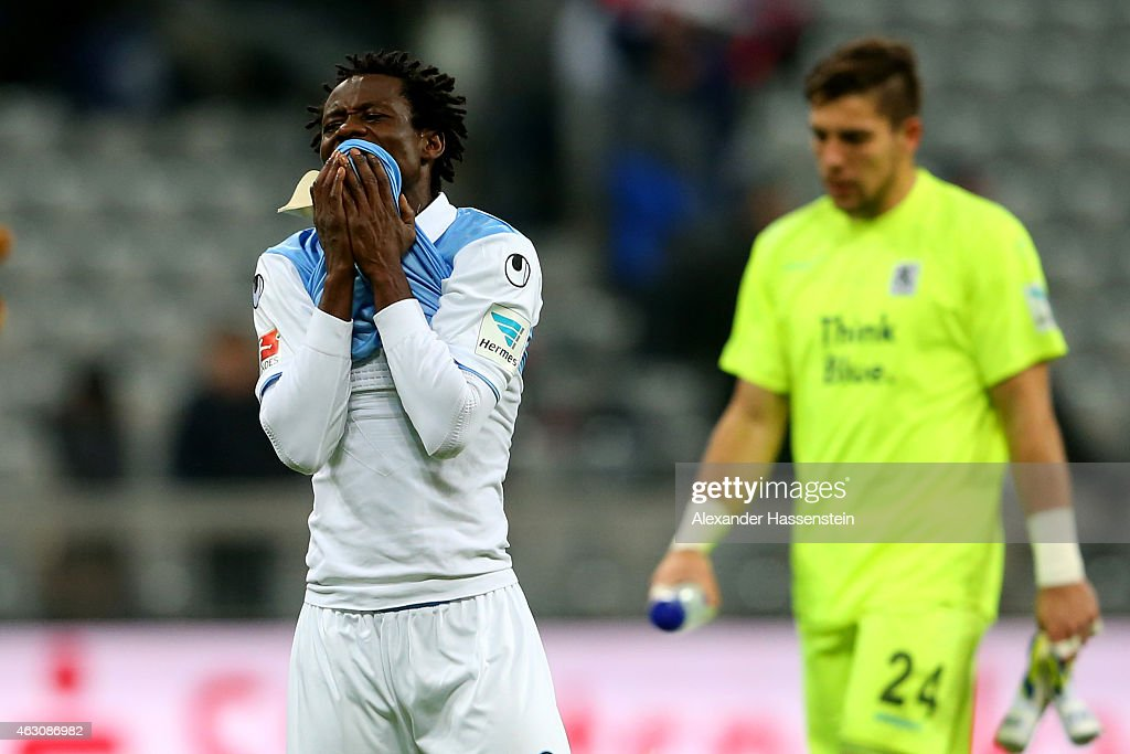 <a gi-track='captionPersonalityLinkClicked' href=/galleries/search?phrase=Anthony+Annan&family=editorial&specificpeople=646720 ng-click='$event.stopPropagation()'>Anthony Annan</a> (L) of 1860 Muenchen reacts after the Second Bundesliga match between 1860 Muenchen and 1. FC Heidenheim at Allianz Arena on February 9, 2015 in Munich, Germany.