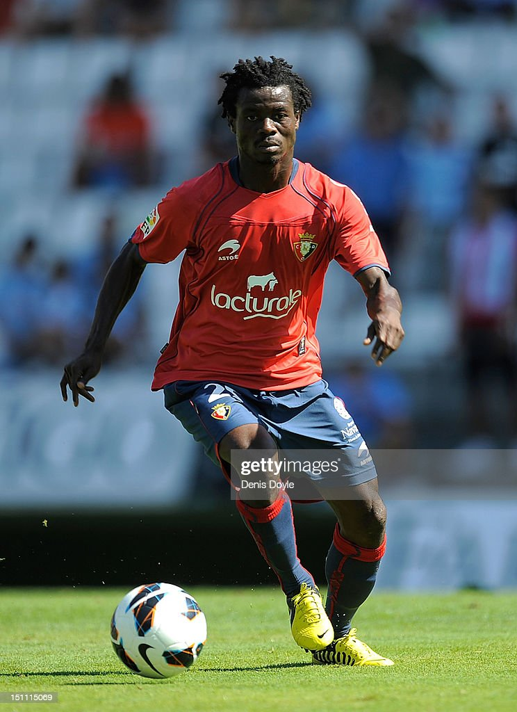 <a gi-track='captionPersonalityLinkClicked' href=/galleries/search?phrase=Anthony+Annan&family=editorial&specificpeople=646720 ng-click='$event.stopPropagation()'>Anthony Annan</a> of CA Osasuna in action during the La Liga match between RC Celta de Vigo and CA Osasuna at Estadio Balaidos on September 1, 2012 in Vigo, Spain.