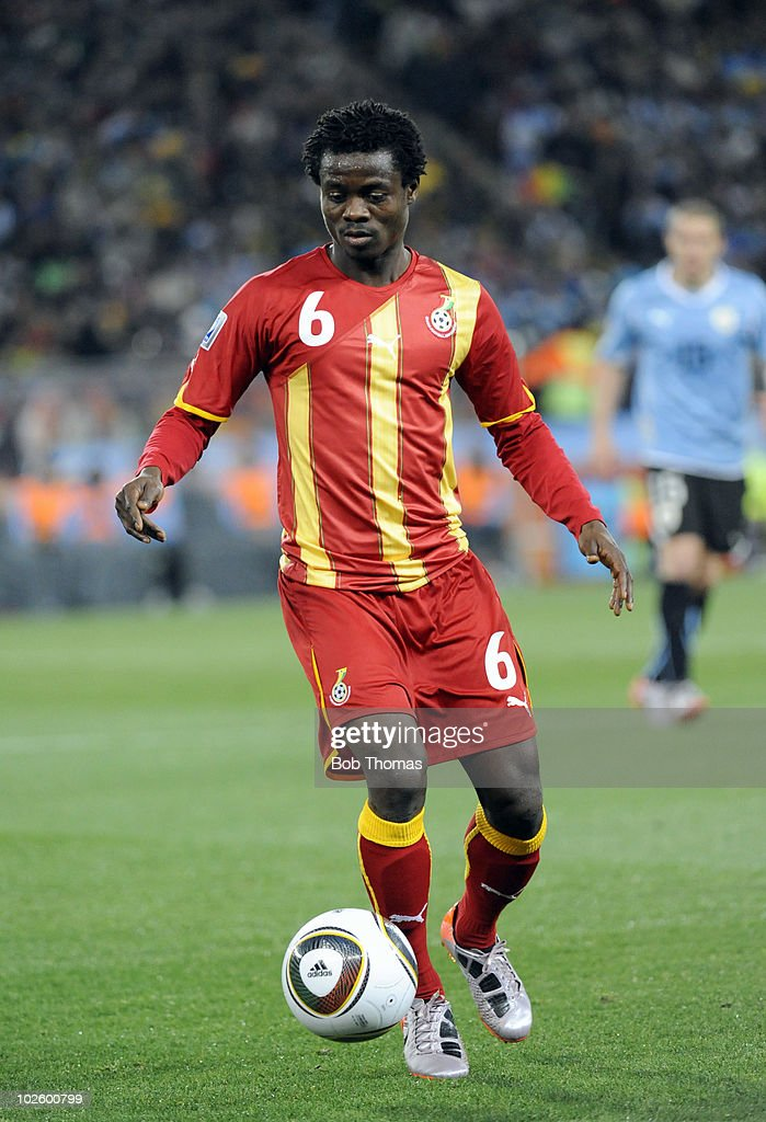 <a gi-track='captionPersonalityLinkClicked' href=/galleries/search?phrase=Anthony+Annan&family=editorial&specificpeople=646720 ng-click='$event.stopPropagation()'>Anthony Annan</a> of Ghana in action during the 2010 FIFA World Cup South Africa Quarter Final match between Uruguay and Ghana at the Soccer City stadium on July 2, 2010 in Johannesburg, South Africa. The match ended 1-1 after extra-time. Uruguay won 4-2 on penalties.