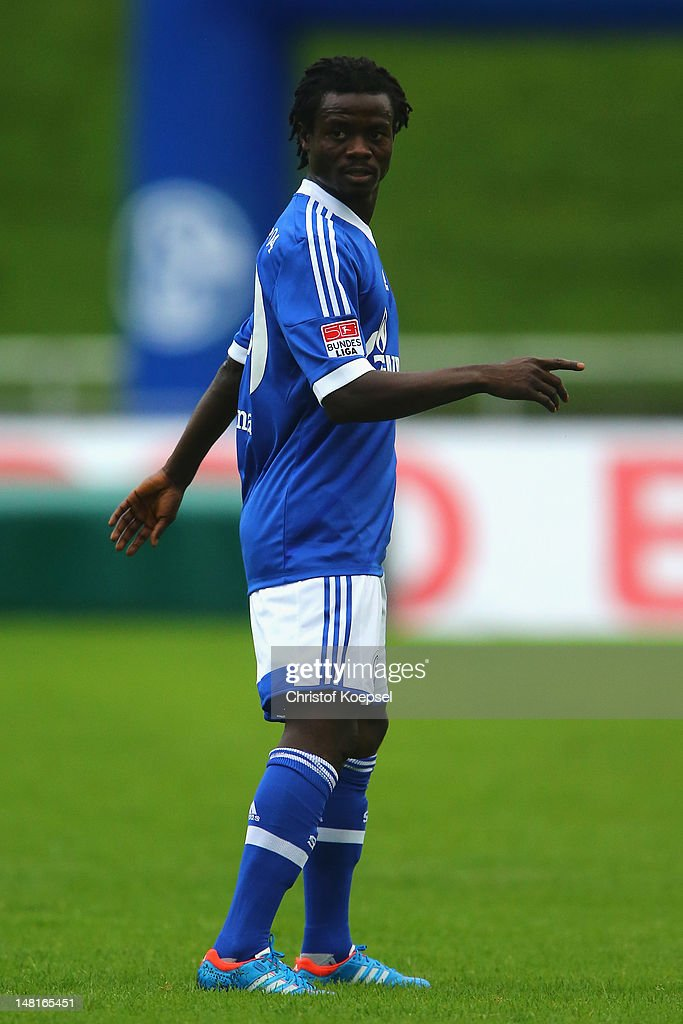 <a gi-track='captionPersonalityLinkClicked' href=/galleries/search?phrase=Anthony+Annan&family=editorial&specificpeople=646720 ng-click='$event.stopPropagation()'>Anthony Annan</a> of Schalke looks on during the friendly match between ERGO national team and FC Schalke 04 at Stadium Hohenhorst on July 11, 2012 in Recklinghausen, Germany.