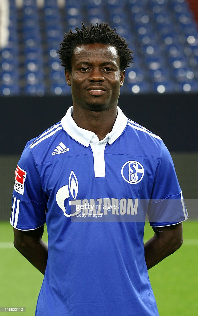 <a gi-track='captionPersonalityLinkClicked' href=/galleries/search?phrase=Anthony+Annan&family=editorial&specificpeople=646720 ng-click='$event.stopPropagation()'>Anthony Annan</a> of Schalke poses during the team presentation at Veltins Arena on July 9, 2011 in Gelsenkirchen, Germany.