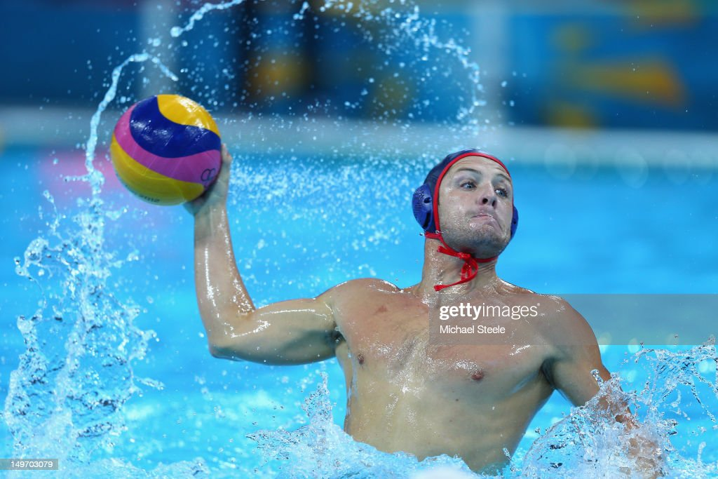 Anthony Azevedo of the United States competes during the Men's Water Polo Preliminary Round match between Great Britain and the United States at the Water Polo Arena on August 2, 2012 in London, England.