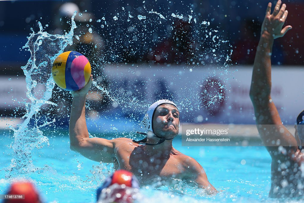 Anthony Azevedo of US during the Men's Water Polo quarterfinals qualification match between United Sates of America and Spain during day nine of the 15th FINA World Championships at Piscines Bernat Picornell on July 28, 2013 in Barcelona, Spain.