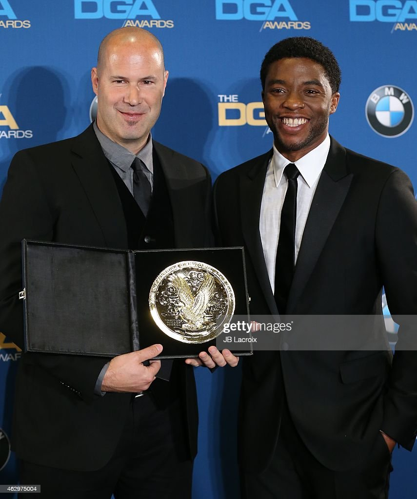 Anthony B. Sacco and Chadwick Boseman pose in the press room at the 67th Annual Directors Guild Of America Awards at the Hyatt Regency Century Plaza on February 7, 2015 in Century City, California.