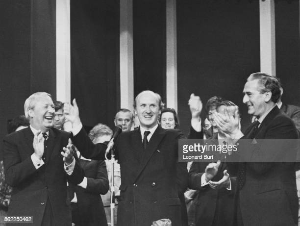 Anthony Barber Chancellor of the Exchequer receives an ovation after his pledge to reduce taxes at the Conservative Party Conference in Blackpool UK...