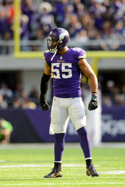 322977503 ... Anthony Barr 55 of the Minnesota Vikings celebrates a tackle against  the Baltimore Ravens during ...