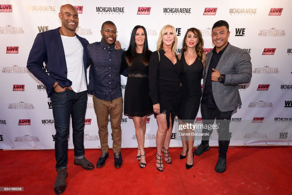 Anthony Battle, Kenneth Moreland, Patti Stanger, Vicki Gunvalson, Kelly Dodd and Iggy Rodriguez attend WE tv's LOVE BLOWS Premiere Event at Flamingo Rum Club at Flamingo Rum Club on August 16, 2017 in Chicago, Illinois.