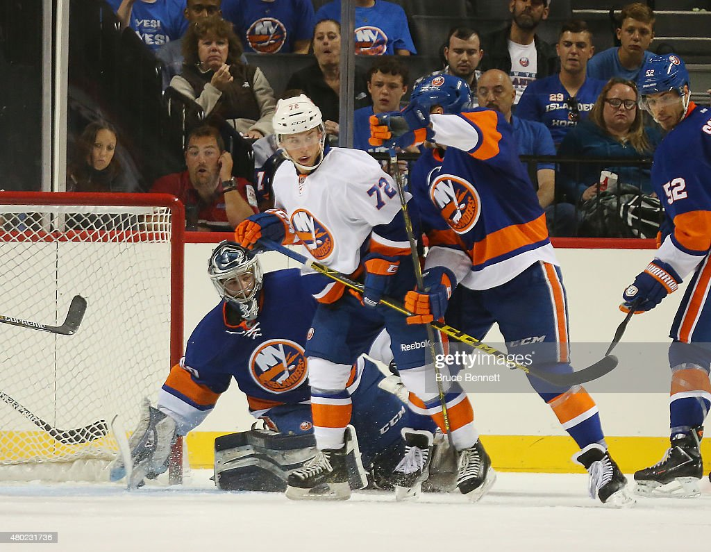 Anthony Beauvillier #72 skates in the 2015 New York Islanders Blue & White Rookie Scrimmage & Skills Competition at the Barclays Center on July 8, 2015 in Brooklyn borough of New York City.