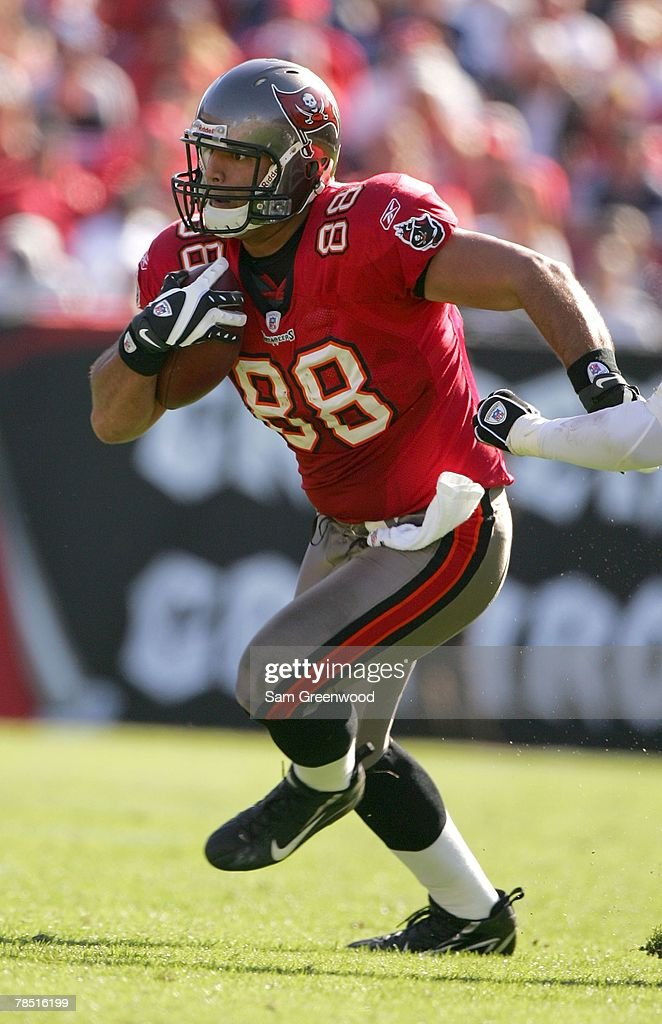 Anthony Becht #88 of the Tampa Bay Buccaneers runs in a game against the Atlanta Falcons at Raymond James Stadium on December16, 2007 in Tampa, Florida. The Buccaneers beat the Falcons 37-3.