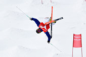 Anthony Benna of France takes 1st place during the FIS Freestyle Skiing Dual Moguls on March 15 2015 in Megeve France