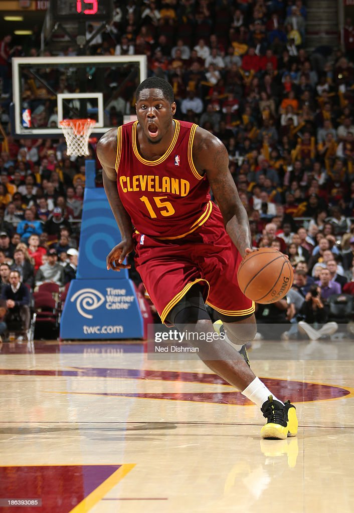 Anthony Bennett #15 of the Cleveland Cavaliers drives against the Brooklyn Nets during a game at the Quicken Loans Arena on October 30, 2013 in Cleveland, Ohio.