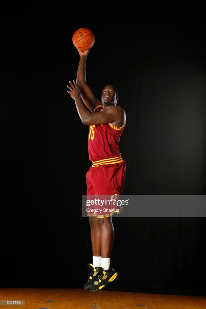 Anthony Bennett #15 of the Cleveland Cavaliers poses for a portrait during the 2013 NBA rookie photo shoot on August 6, 2013 at the Madison Square Garden Training Facility in Tarrytown, New York.