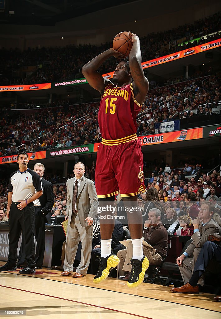 Anthony Bennett #15 of the Cleveland Cavaliers shoots against the Brooklyn Nets during a game at the Quicken Loans Arena on October 30, 2013 in Cleveland, Ohio.