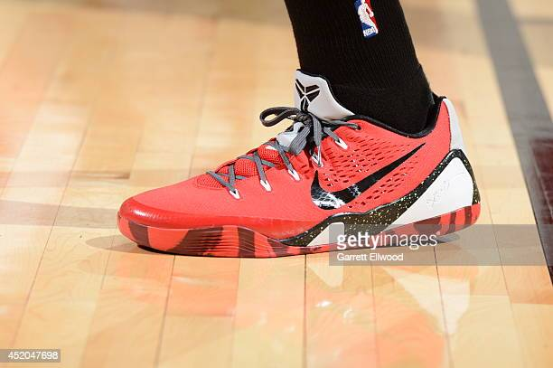 Anthony Bennett of the Cleveland Cavaliers sneakers are shown during the game against the Milwaukee Bucks at the Samsung NBA Summer League 2014 on...