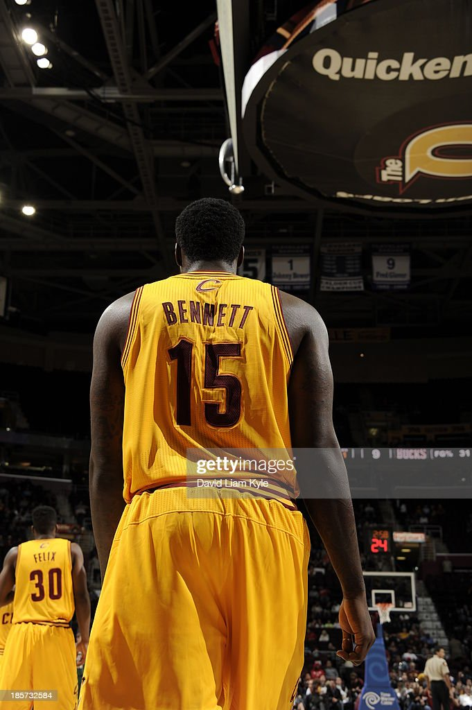 Anthony Bennett #15 of the Cleveland Cavaliers walks up court against the Milwaukee Bucks at The Quicken Loans Arena on October 8, 2013 in Cleveland, Ohio.