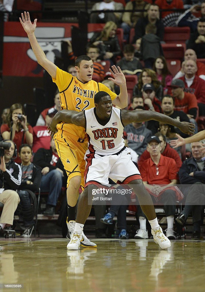 Anthony Bennett #15 of the UNLV Rebels boxes out Larry Nance Jr. #22 of the Wyoming Cowboys at the Thomas & Mack Center January 24, 2013 in Las Vegas, Nevada. The Rebels won 62-50.