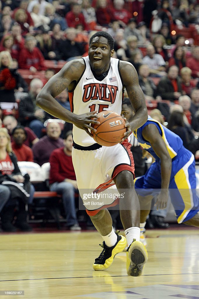 Anthony Bennett #15 of the UNLV Rebels drives to the hoop against the CSU Bakersfield Roadrunners at the Thomas & Mack Center on January 5, 2013 in Las Vegas, Nevada.