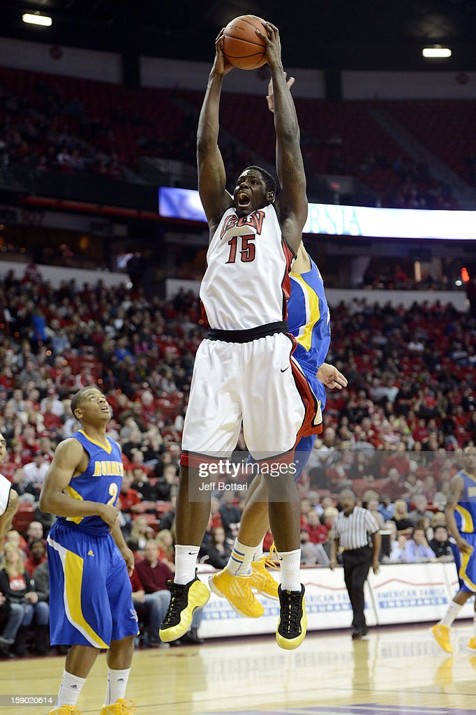Anthony Bennett #15 of the UNLV Rebels grabs a rebound against the CSU Bakersfield Roadrunners at the Thomas & Mack Center on January 5, 2013 in Las Vegas, Nevada. UNLV won 84-63.