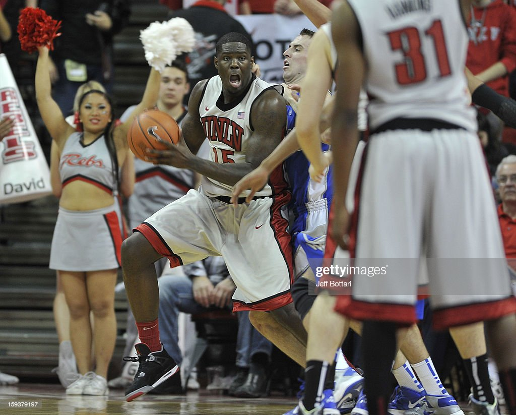 Anthony Bennett #15 of the UNLV Rebels posts up down low against the Air Force Falcons at the Thomas & Mack Center on January 12, 2013 in Las Vegas, Nevada. The Rebels won 76-71.