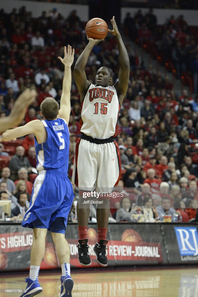 Anthony Bennett #15 of the UNLV Rebels puts up a shot against Mike Fitzgerald #5 of the Air Force Falcons at the Thomas & Mack Center on January 12, 2013 in Las Vegas, Nevada.