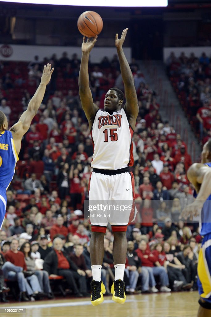 Anthony Bennett #15 of the UNLV Rebels puts up a shot against the CSU Bakersfield Roadrunners at the Thomas & Mack Center on January 5, 2013 in Las Vegas, Nevada.