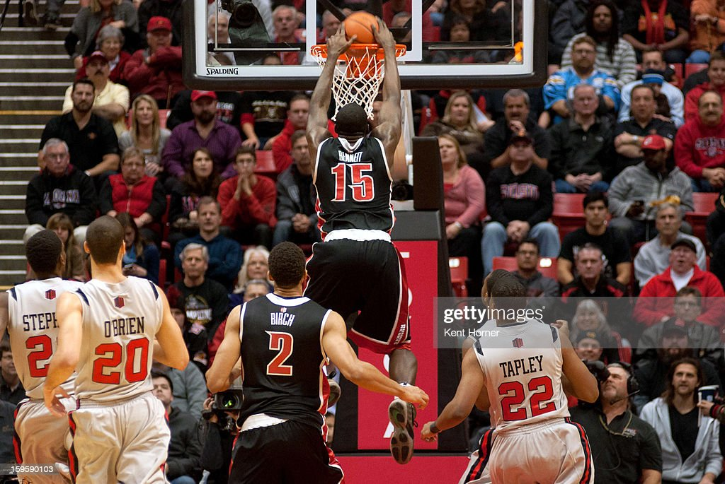 Anthony Bennett #15 of the UNLV Runnin' Rebels dunks the ball in the first half of the game against the San Diego State Aztecs at Viejas Arena on January 16, 2013 in San Diego, California.