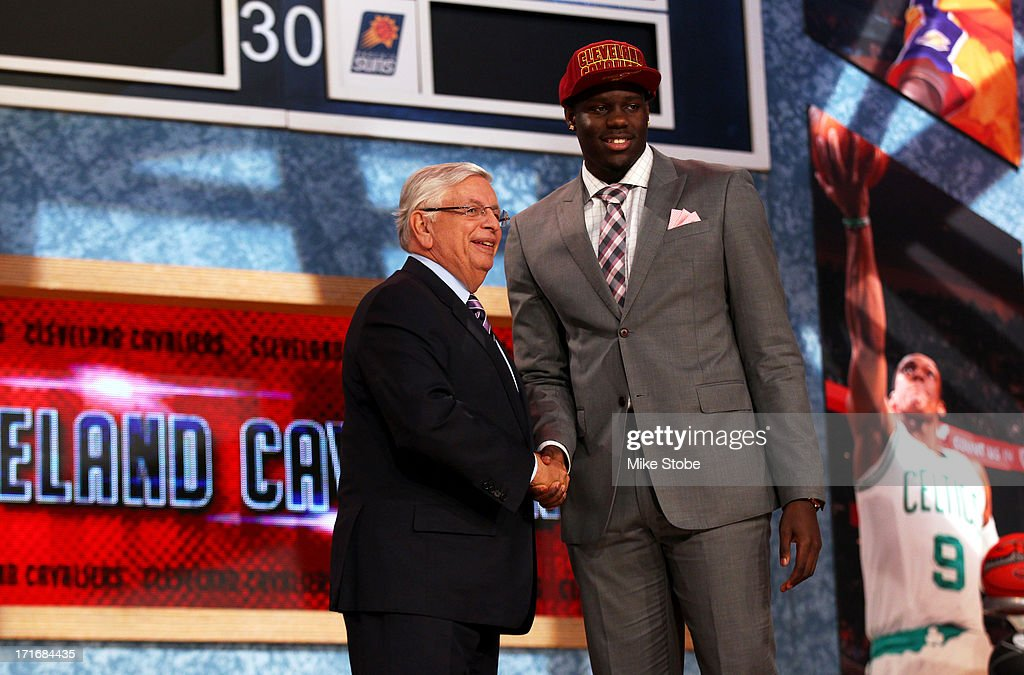 Anthony Bennett of UNLV poses for a photo with NBA Commissioner David Stern after Bennett was drafted #1 overall in the first round by the Cleveland Cavaliers during the 2013 NBA Draft at Barclays Center on June 27, 2013 in in the Brooklyn Bourough of New York City.
