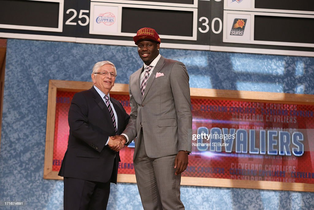 Anthony Bennett shakes hands with NBA Commissioner, David Stern after being selected number one overall by the Cleveland Cavaliers during the 2013 NBA Draft on June 27, 2013 at Barclays Center in Brooklyn, New York.