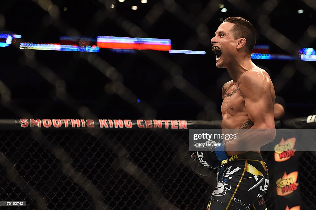 Anthony Birchak reacts to his victory over Joe Soto in their bantamweight bout during the UFC Fight Night event at Smoothie King Center on June 6...
