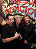 Anthony Bongiovi John Francis Bongiovi Sr and Jon Bon Jovi pose at the Bongiovi Brand chef station at Ronzoni's La Sagra Slices hosted by Bongiovi...