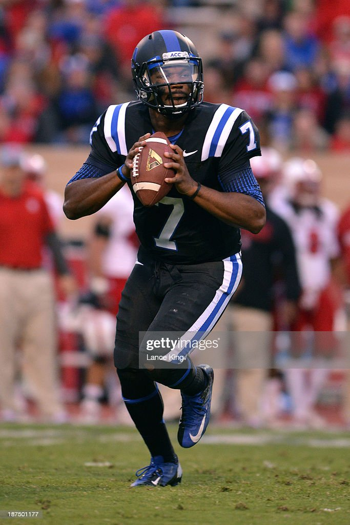 Anthony Boone #7 of the Duke Blue Devils drops back to pass against the North Carolina State Wolfpack at Wallace Wade Stadium on November 9, 2013 in Durham, North Carolina.