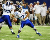 Anthony Boone of the Duke Blue Devils passes against the Texas AM Aggies during the ChickFilA Bowl at the Georgia Dome on December 31 2013 in Atlanta...