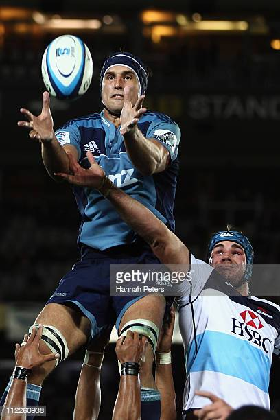 Anthony Boric of the Blues wins lineout ball against Ben Mowwen of the Waratahs during the round nine Super Rugby match between the Blues and the...