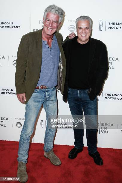 Anthony Bourdain and Eric Ripert attend the 'WASTED The Story of Food Waste' Premiere 2017 Tribeca Film Festival at BMCC Tribeca PAC on April 22 2017...