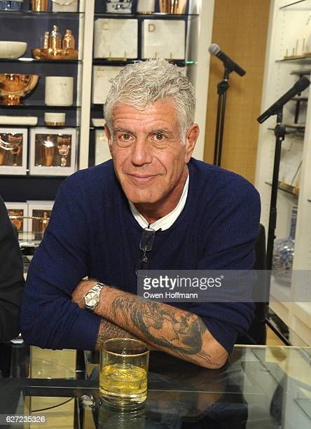 Anthony Bourdain attends Hey New York Meet Anthony Bourdain Eric Ripert book signing event for his book 'Appetites A Cookbook' at WilliamsSonoma...