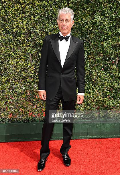 Anthony Bourdain attends the 2015 Creative Arts Emmy Awards at Microsoft Theater on September 12 2015 in Los Angeles California