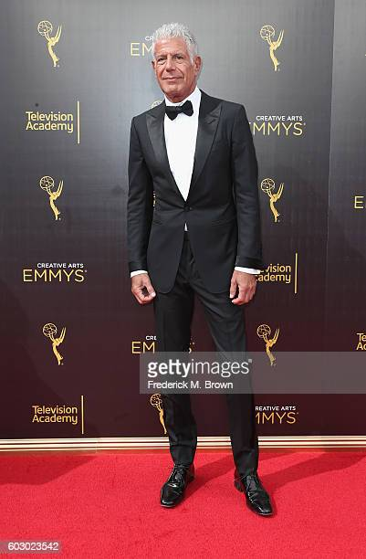 Anthony Bourdain attends the 2016 Creative Arts Emmy Awards at Microsoft Theater on September 11 2016 in Los Angeles California