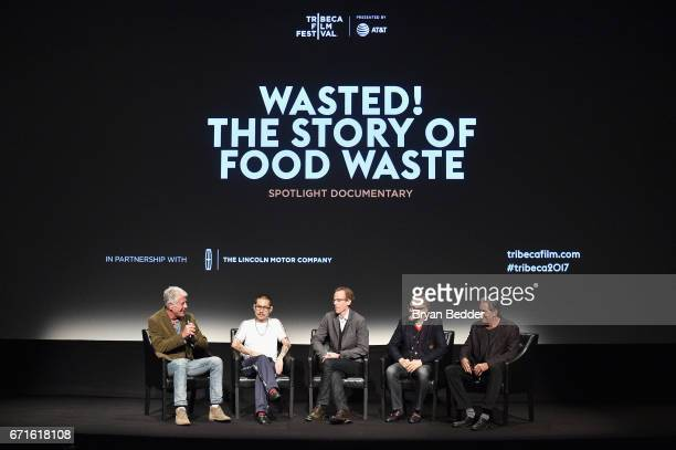 Anthony Bourdain Danny Bowien Dan Barber Massimo Bottura and Peter Madonia attend 'WASTED The Story Of Food Waste' premiere on April 22 2017 in New...