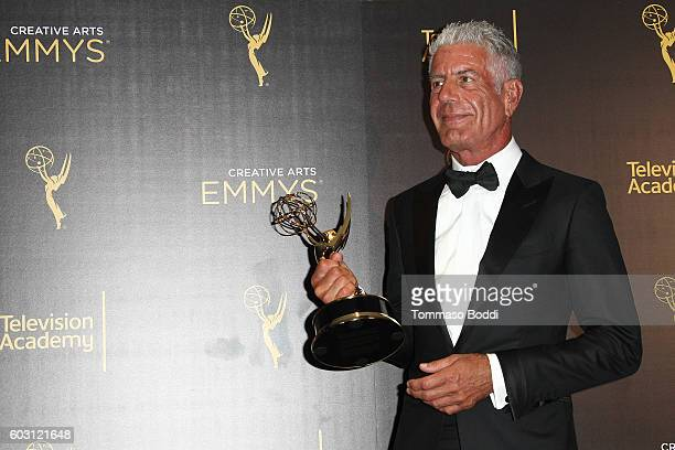 Anthony Bourdain poses in the press room at the 2016 Creative Arts Emmy Awards held at Microsoft Theater on September 11 2016 in Los Angeles...