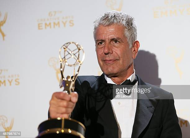 Anthony Bourdain poses in the press room during the 2015 Creative Arts Emmy Awards at Microsoft Theater on September 12 2015 in Los Angeles California
