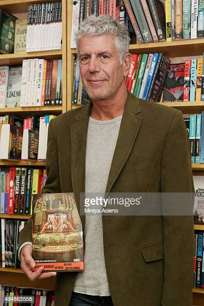 Anthony Bourdain signs copies of his comic book 'Get Jiro Blood And Sushi' at BookCourt on October 29 2015 in New York City